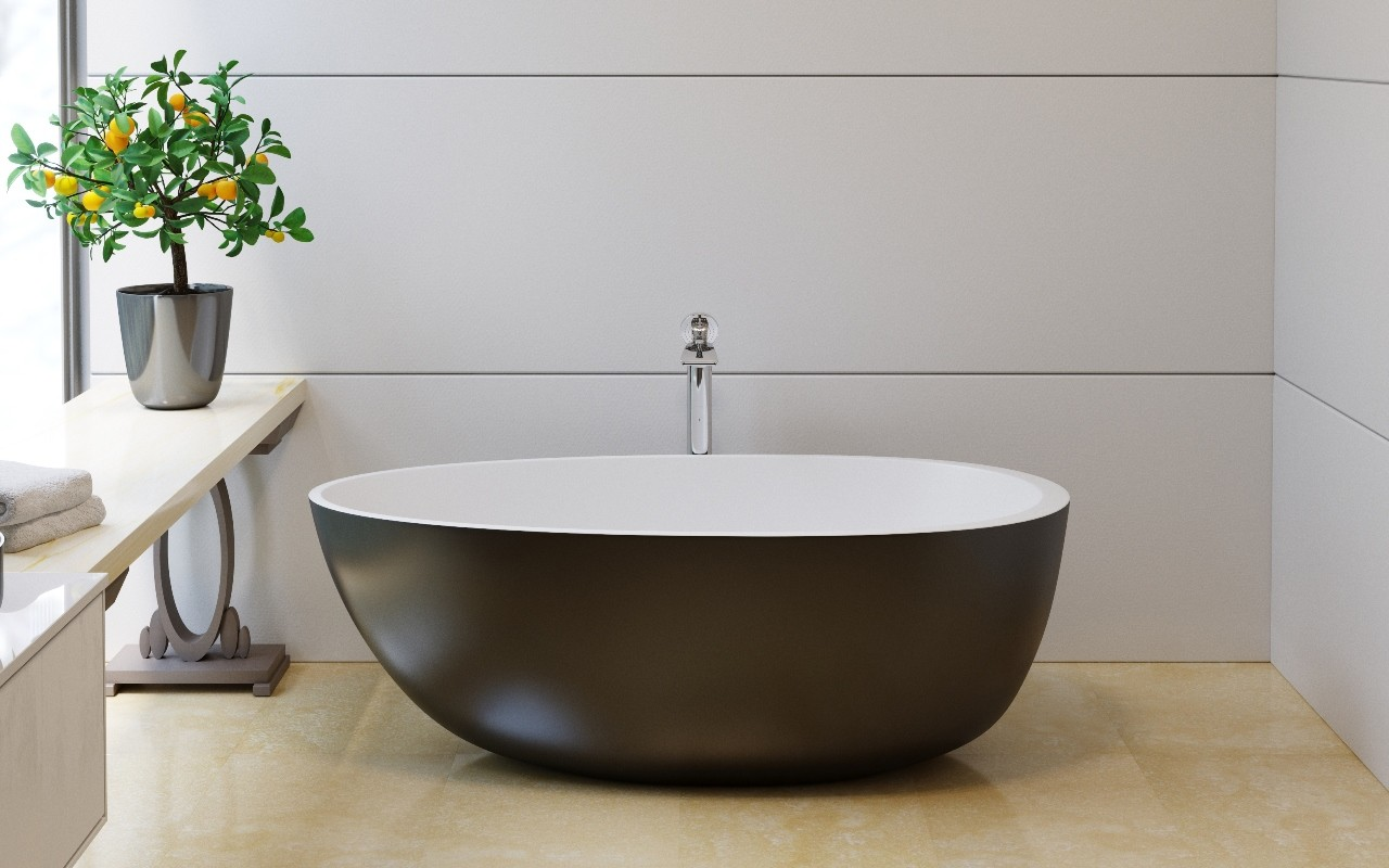 Красивая черно-белая ванна из литого камня 4