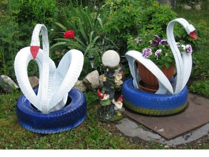 Поделки из шин для сада своими руками фото