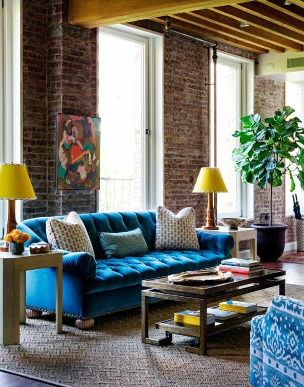 blaue-farbtöne-akzent-deko-sofa