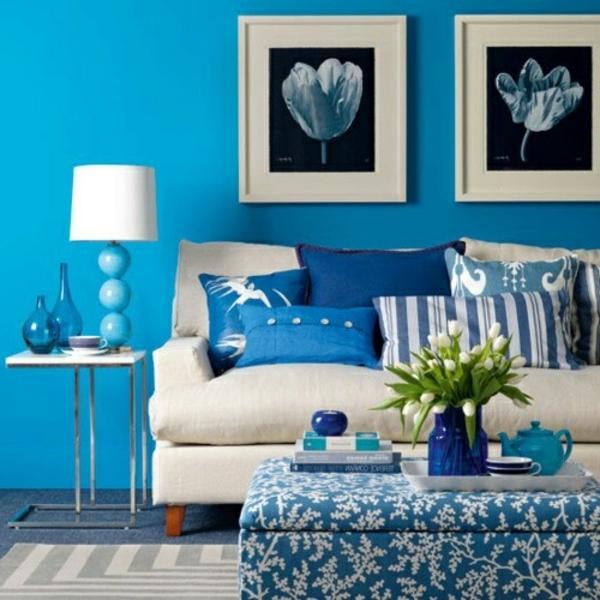 blaue-farbtöne-blaue-wohnzimmer-wandgestaltung