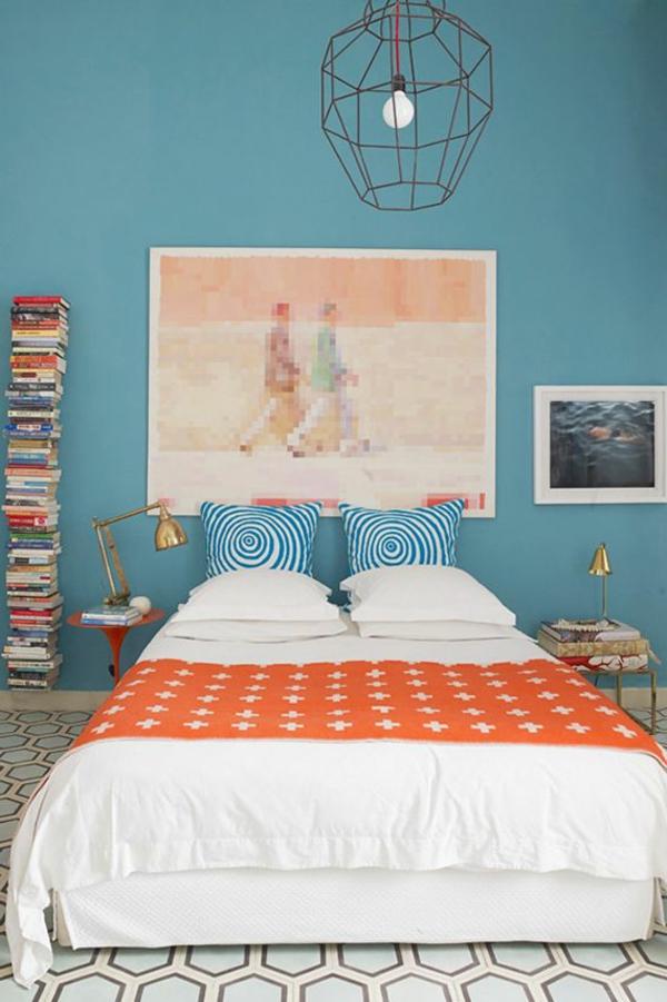 blaue-farbtöne-schlafzimmer-orange