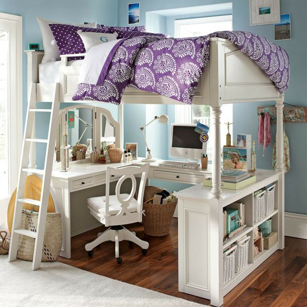 Белая деревянная Двухъярусная кровать для взрослых с рабочим столом