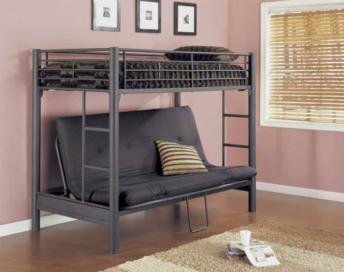 Металлическая Двухъярусная кровать для взрослых с диваном