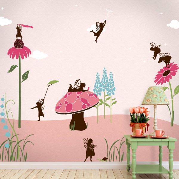 рисунки на стенах детской комнаты красивые интерьеры и дизайн