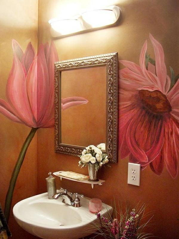 wandmalerei-ideen-badezimmer-blumen