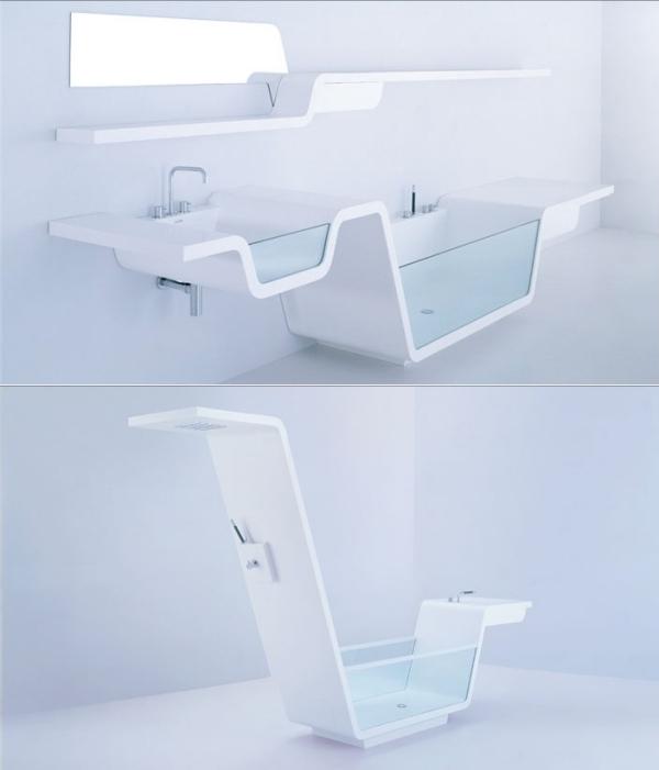 Раковина и ванна со стеклянной стенкой