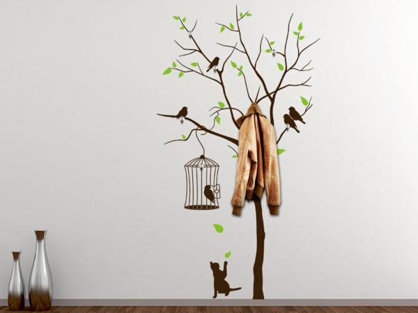 Наклейка на стену дерево с птицами и клеткой