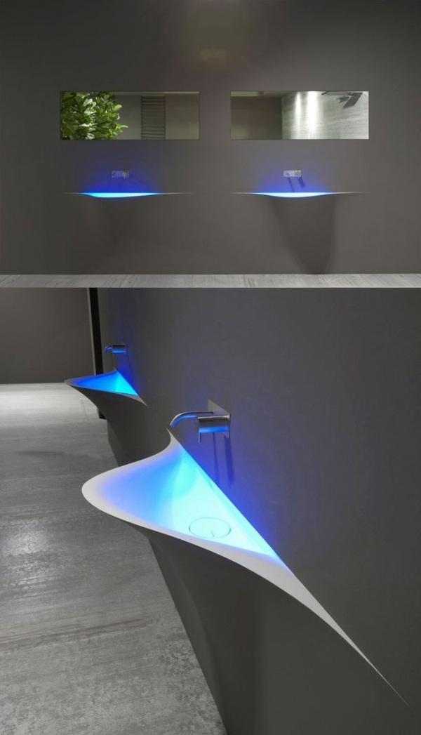 Раковина для ванной необычной формы с подсветкой