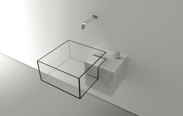 Прямоугольная прозрачная стеклянная раковина для ванной