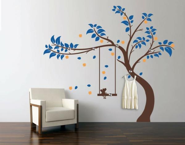 Наклейка на стену цветущее дерево с качелями