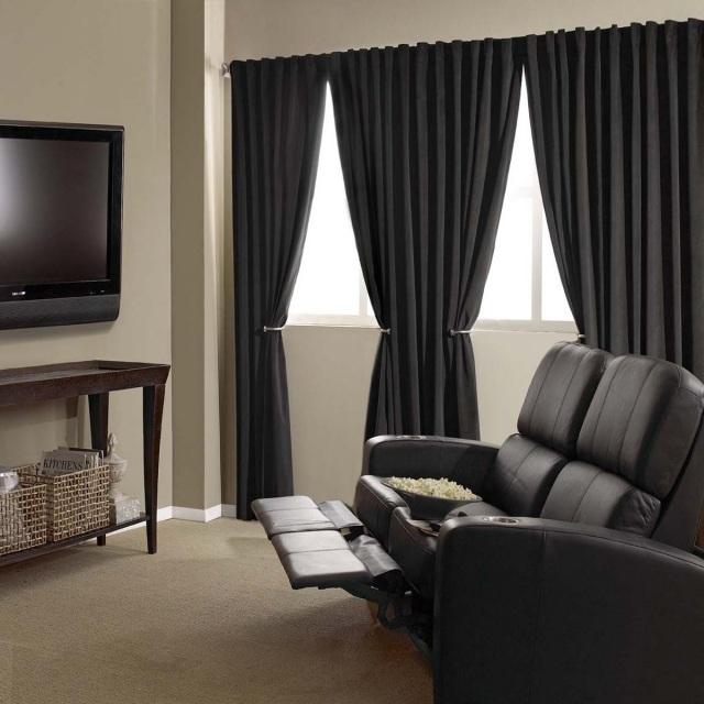 Черные шторы с прихватом в интерьере