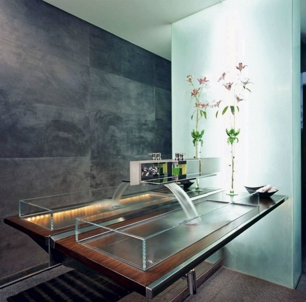 Прямоугольная стеклянная раковина для ванной