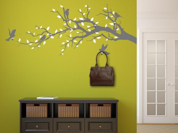 Наклейка на стену дерево с белыми листьями