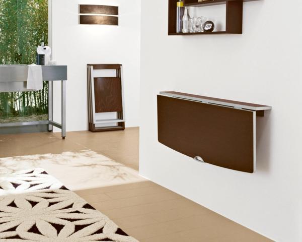 Складной прямоугольный металлический стол для кухни цвета венге