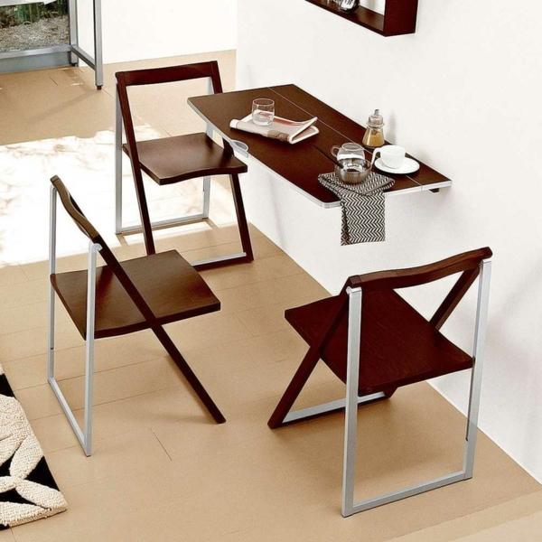 Складной прямоугольный металлический стол для кухни цвета венге со стульями