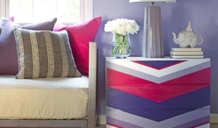 Как обновить старый комод - оттенки фиолетового