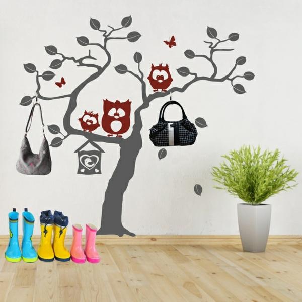 Наклейка на стену дерево с совами