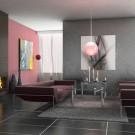 Серебристая стена в комбинации с розовым