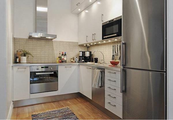 Белая кухня металлик