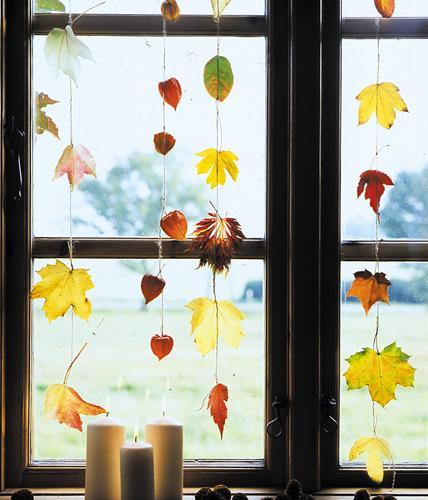 Гирлянда из осенних листьев - украшение интерьера своими руками