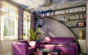 Гостиная в сиреневых тонах с кирпичной стеной декоративного камня и рисунком на стене