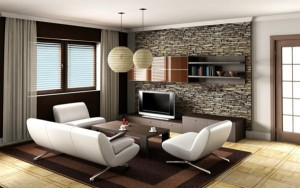 Стильный интерьер гостиной с искусственным камнем