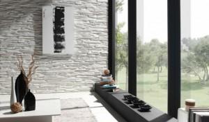 Белый декоративный камень в интерьере гостиной