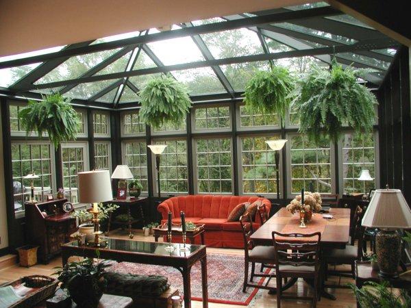 Классическая мебель в алюминиевом зимнем саду