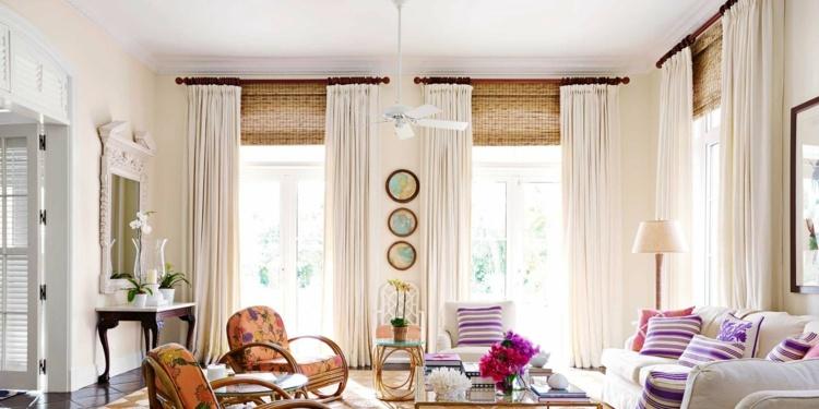 Бамбуковые римские шторы с занавесками