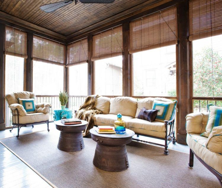 Деревянные шторы на террасе