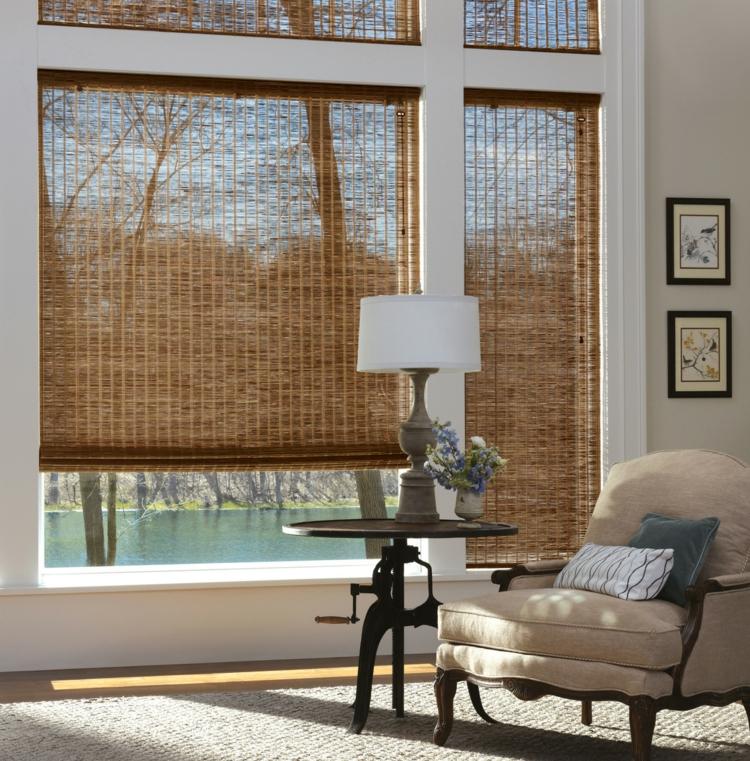 Прозрачная римская штора из бамбука