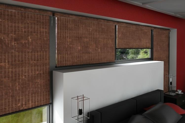 Римские шторы из бамбука в спальне с современным интерьером