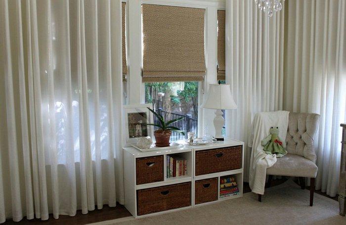 Плотные римские шторы с тюлем