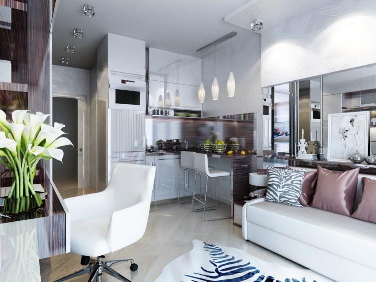 12 Светлая однокомнатная квартира-студия — воплощение женственности