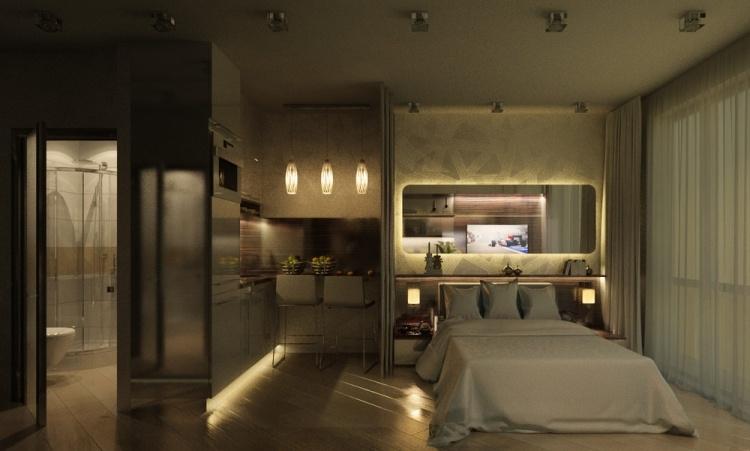 19 уютный интерьер однокомнатной квартиры студии 20 кв м раскладывающийся диван мягкое освещение