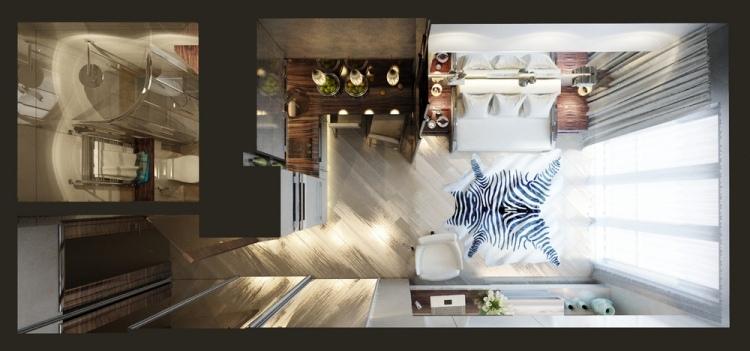 23 планировка однокомнатной квартиры 20 кв м вид сверху жилая зона и ванная