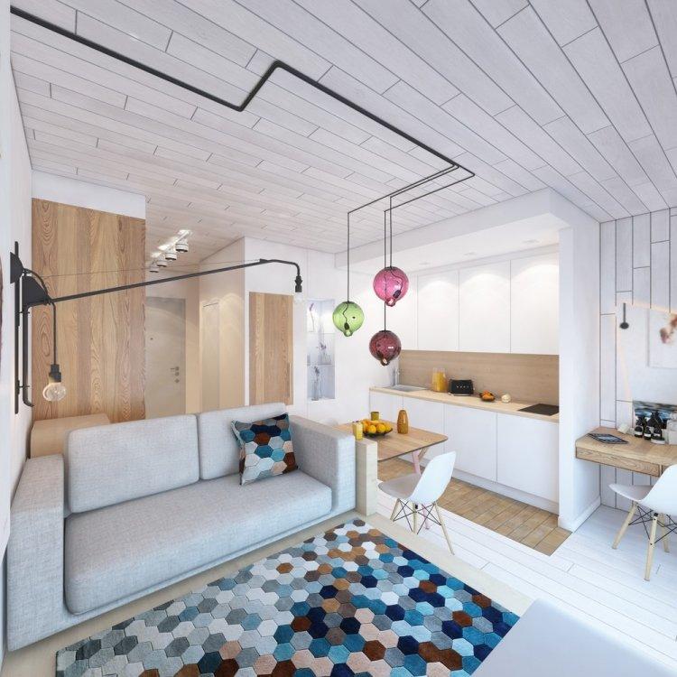 25 квартира 28 кв м дизайн проект скандинавский стиль яркий ковер промышленные лампыkleine-wohnung-einrichten-30qm-modern-skandinavisch-weiss-industrielampen-teppich-bunt