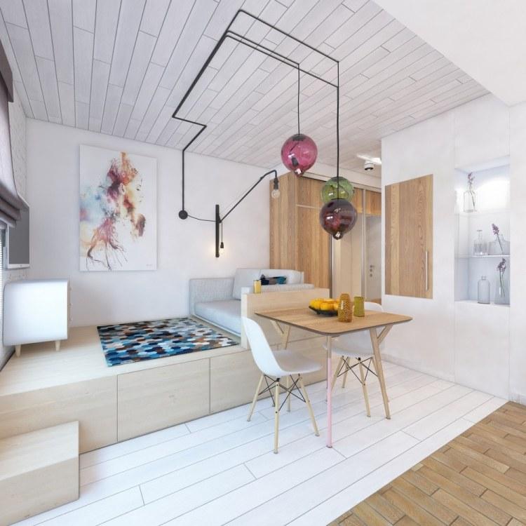 26 интерьер квартиры 28 кв м белый светлый беж подиум дизайнерские лампы