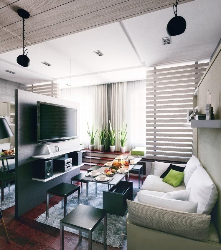 34 интерьер маленькой квартиры в хрущевке 21 кв м стол трансформер спальня телевизор