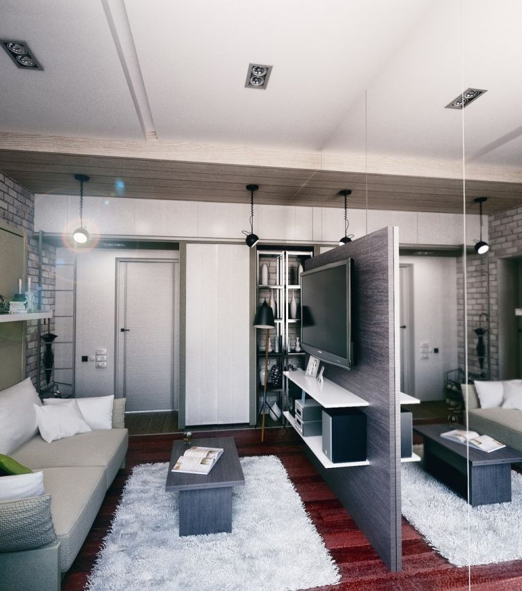 35 дизайн маленькой квартиры студии в хрущевке зеркальная стена встроенный шкаф диван