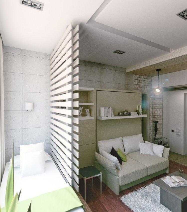 37 маленькая квартира интерьер белая перегородка кровать