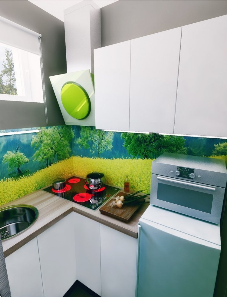 39 интерьер квартиры студии 21 кв м мини-кухня встроенная фартук с фотографией