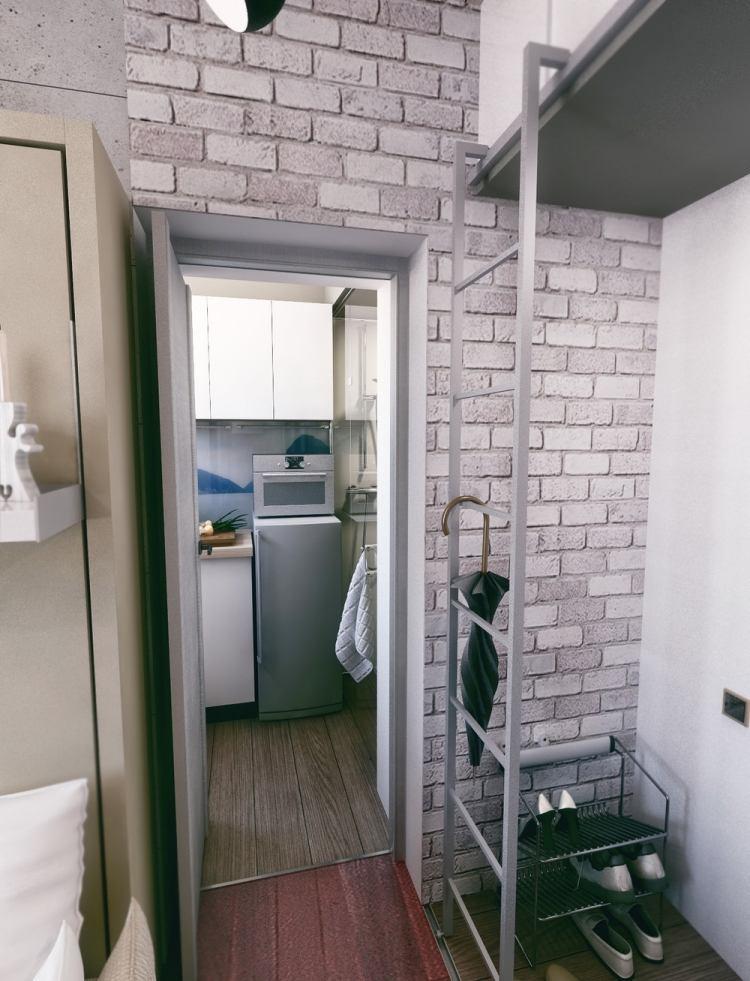 41 перепланировка однокомнатной квартиры в хрущевке 21 кв м коридор встроенный шкаф полки для обуви