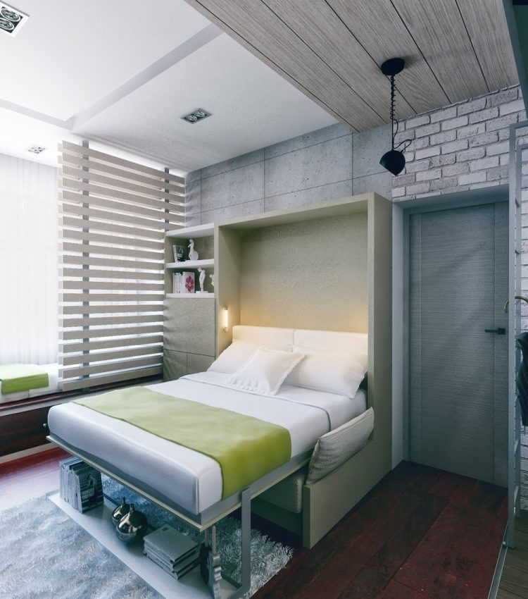43 интерьер однокомнатной квартиры студии 21 кв м раскладная кровать в стене