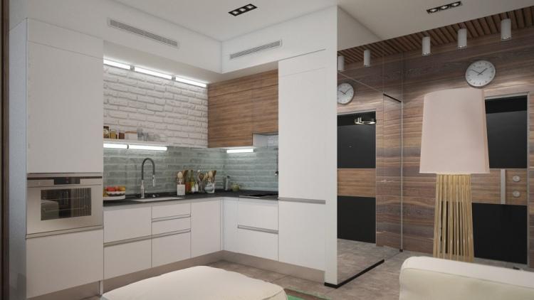 47 планировка однокомнатной квартиры студиии 30 кв м маленькая белая кухня современный дизайн
