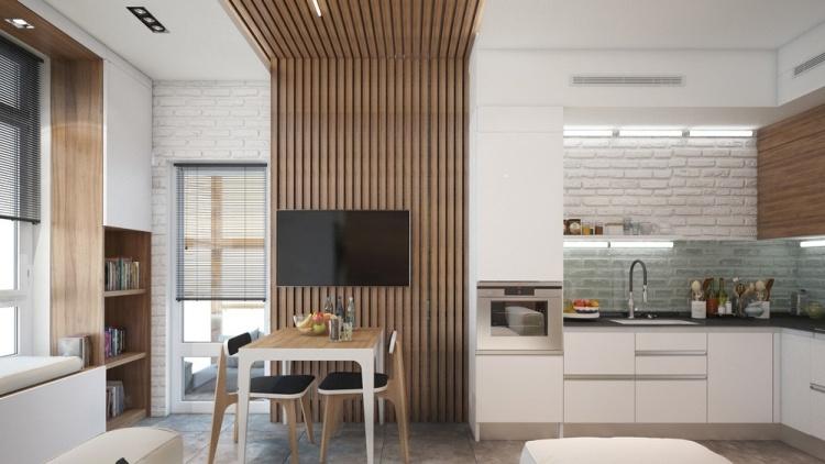 48 проект однокомнатной квартиры студиии в хрущевке 30 кв м зонирование дерево зона столовой белая кухня современный стиль