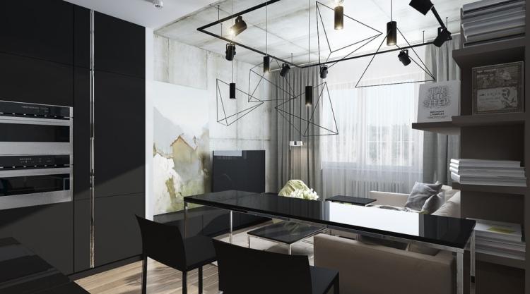 5 Однокомнатная квартира-студия в индустриальном стиле