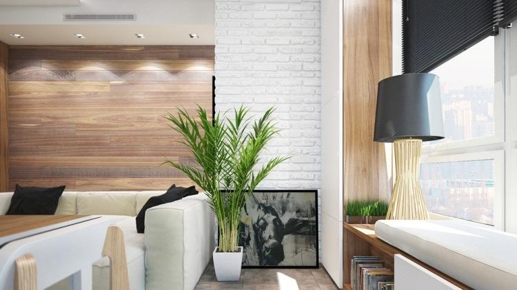 50 планировка маленькой однокомнатной квартиры студии в хрущевке 30 кв м уголок у окна растения картина кирпичная стена