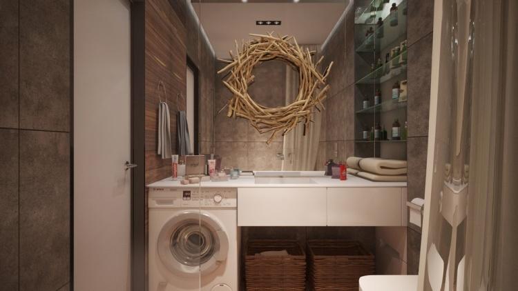 54 дизайн интерьера однокомнатной квартиры студии 30 кв м ванная зеркальная стена современный стиль белая мебель