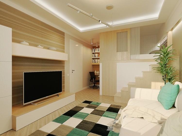 57 интерьер маленькой квартиры-студии 29 кв м светлый бежевый дерево перегородка мятный
